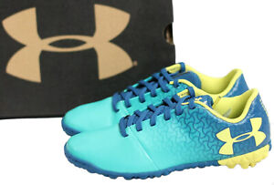 Under Armour Youth Size 1 Magnetico Select Turf JR Soccer Shoes Teal Punch Blue