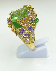 Butler & Wilson Style Green Gem Statement Ring, Size T, Bling, Fancy, Bold, TJC