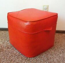 Vintage Mid Century Orange Cube Ottoman Hassock Foot Rest Stool Square Nice!