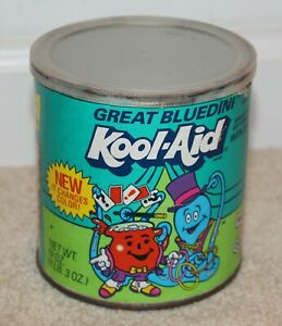 Vintage Kool-Aid Tin  Collectible Canister Metal Can Great Bluedini 1990's