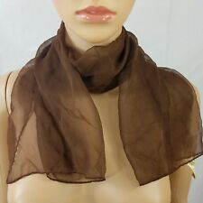 """Vintage Womens Scarf Brown Neck Wrap Sheer Rectangle 42""""X14"""" Polyester Shawl"""