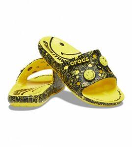 Crocs - Unisex Smiley Face Slides With Jibbitz - Yellow / Black
