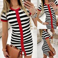 Womens Short Sleeve Striped Mini Dress Ladies Party Bodycon Dresses Clubwear US