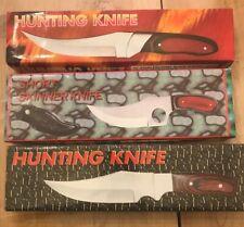 Lot If (3) Hunting Knife/short Skinner Knife Stainless Steel Blades Sheaths