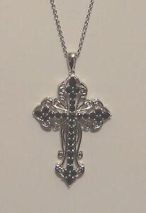 Thai Black Spinel (Pear) Cross Pendant