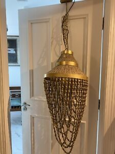 John Lewis Vintage Chandelier Long Gold Beaded Moroccan Natural Large