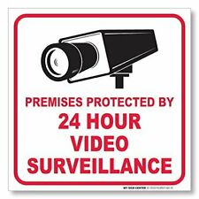 (4 Pack) Premises Protected by 24 Hour Video Surveillance Sticker - Made in.