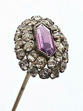 Antique Hatpin Elegant Cut Amethyst Center. Rhinestone Surround. Collectible
