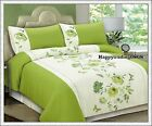 280TC Green White Flora Butterfly Embroidery Pintuck QUEEN QUILT DOONA COVER SET