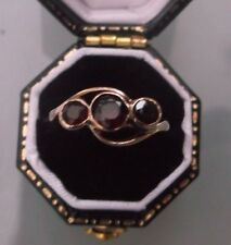 Women's Antique 9ct Rose Gold Three-Stone Garnet Ring Size I Weight 1.9g Stamped