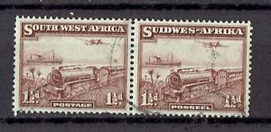 South West Africa 1931 1 1/2d Mail Transport on train. Pair Fine Used
