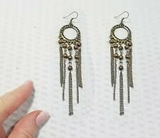 Vintage Brass Loop and Beaded Fringe Dangle Earrings