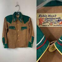 Cowboy Shirt Vintage 50s Robin Hood Sportswear Two Tone Shirt Small