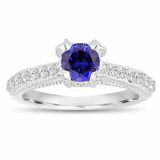 Certified Blue Sapphire Engagement Ring 14K White Gold 0.82 Carat Unique