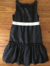 New Chaps Black W White Polka Dots Dress 14 Lined White Sash. Crystal Buttons