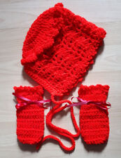 Handmade Hand Crocheted Baby Girl Filet Hat & Mitts Various Colours 100% Acrylic