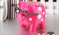 Polka Dots Hard Plastic Pig With Glasses Piggy Bank With Stopper Rose-carmine