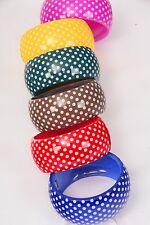 "Bulk Lot 12 Hinged Acrylic Bangle Bracelets Polka Dot 2.75"" x 1.5"" Wide Cuff"