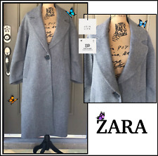 ZARA Women Size S JOIN LIFE GREY 50% WOOL OVERSIZE COAT WITH BUTTON