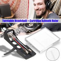 Plattenspieler Ersatz Headshell + Acryl Azimuth-Einstellungs Für Turntable LP