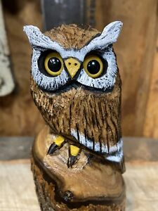 MINI HORNED OWL Chainsaw Carving CATALPA WOOD Owl ONE of a KIND Folk Artwork