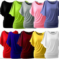 Women Bat Sleeve T-shirt Loose Round Neck Short Sleeve Tops Fasion Blouse 5XL