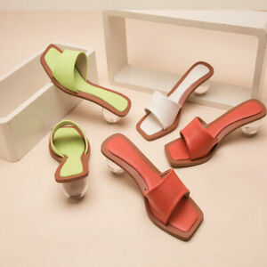 Chunky Special Ball Heel Slide Slippers Square Toe Sandals Orange Women Shoes
