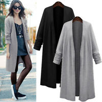Womens Long Sleeve Waterfall Duster Coat Cape Cardigan Autumn Thin Jacket ~