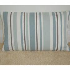 "16""x12"" Oblong Bolster Cushion Cover Stripes Duck Egg Blue Beige Brown Cream"