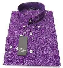 Relco Purple Paisley Cotton Long Sleeved Retro Mod Button Down Shirts