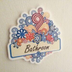 Bathroom Colour Swirl Flowers Door Plaque Room Sign