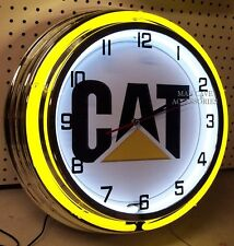"18"" Caterpillar CAT Sign Double Neon Clock"