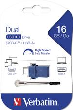 16gb Verbatim USB 3.1 3.0 2.0 Dual OTG Type C & USB A flash pen drive