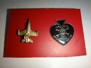 Set Of 2 USAF FIGHTER JET And AIRBORNE DEATH FROM ABOVE Lapel Pins