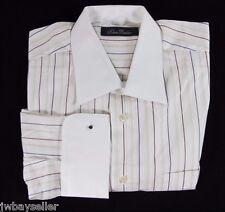 Klauss Boehler Cotton White w/Brown Orange Stripe Shirt French Cuffs Pocket 16 R