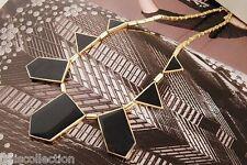 Gold Tone with Black Stone Geometric Shape Triangle Statement Necklace 365
