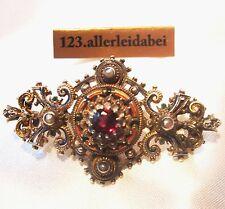 Emaille Brosche Silber Emaile um 1900 Granat Tracht vergoldet Perle / TT 378