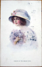 1916 Raphael Tuck Glamour Postcard: 'I Know of Two Bright Eyes' - Woman in Hat