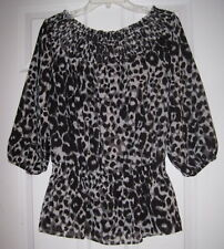 KENNETH COLE NEW YORK BLACK GRAY LEOPARD PRINT S RUCHED TOP BLOUSE