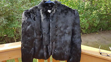 Dyed Black Rabbit Fur Jacket with Mink tails  Sz. Small Vintage