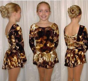 Mystic Bowtie Back BROWN Velvet Ice Skating Dress Dance Costume Child & Adult