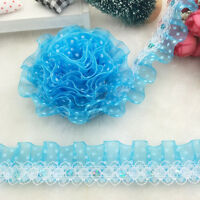 5 yards 2-Layer 30mm Sky Blue Organza Lace Gathered  Pleated sequined Trim #UK01