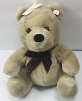 "10"" Vintage Baby Teddy Bear Cuddle Wit Brown Stuffed Plush Animal Toy Brown Bow"