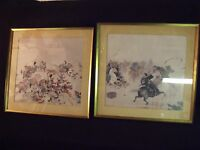 """Vintage Pair of 13"""" by 13"""" Old Chinese Dynasty Horse Warrior Battle Scenes"""