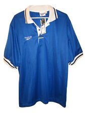Deadstock Vintage Soccer Jersey Striped  Reebok Mens L Blue Large USA Made NWT