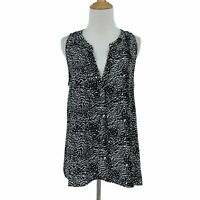 Joie Aruna Silk Blouse Women's Size L Sleeveless Split Neck All Over Print Top