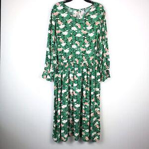 Old Navy Women XL Tall Dress Cottagcore floral Boho Hippie Prairie Long Sleeve