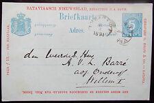 Prachtige 5 Ct briefkaart Batavia to Ambarawa 03-04-1891 with advertisement! VF