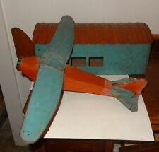 Vintage 30s Schieble Tin Airplane w/ Folding Wings and Aircraft Hanger Building