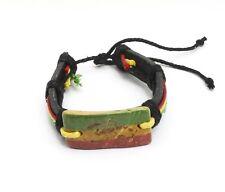 Adjustable Black Genuine Leather Bracelet with a Rasta Color Scorpion Design